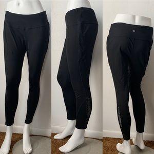 Tangerine Black Leggings Active Workout Yoga Sz M